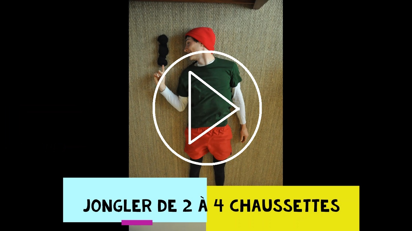 vidéo jonglage de 2 à 4 chaussettes